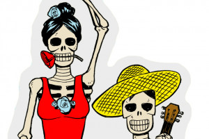 NEW! Rollerbones Day of the Dead Stickers!